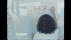 Peace of God writing on the World Map