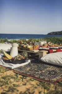 Food table by the beach
