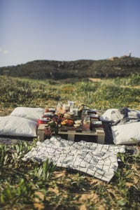 Food table with blanket