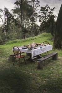Wide shot of food table in outdoor