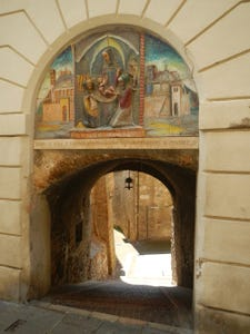 Stone Tunnel with Biblical Art