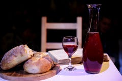 Bread and wine communion on table
