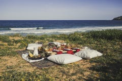Food table set up by the beach